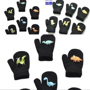Детские вязание полный палец перчатка динозавр узор детей чистый цвет плюшевые утолщение теплые милые перчатки 2 85qs j2