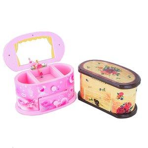 Creative maquillage Mirror Mirror Music Box Rotating Dancing Ballet Girl Girl musique Boîte Boîte de stockage Boîte de rangement pour enfants jouets de Noël 210319
