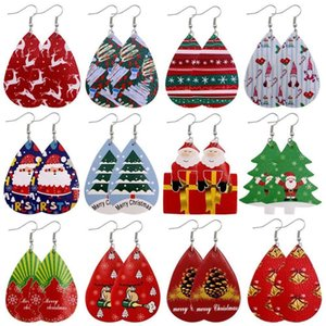 12 styles New Christmas ornaments Festive Party Favor Christmas Earrings Christmas Snowman deer Print Leather Earrings Holiday Gift Jewelry