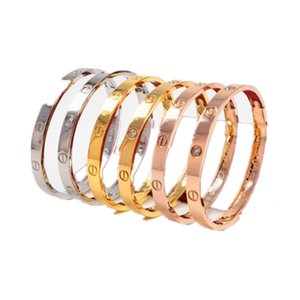 Fashion Women Buckle Engraving Bangle 18K Rose Gold Titanium Steel Diamond Eternity Bracelets Does Not Fade No Box