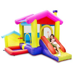 Inflatable Bounce House Garden Supplie Bouncy Castle PlayHouse with Ball Pit Inflatables Kids Slide Jumping Castles w  Air Blower