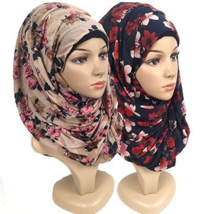 F12 High Quality Flower Printed Jersey Scarf Cotton Plain Elasticity Shawls Maxi Hijab Long Muslim Head Wrap Long Scarves scarfq