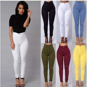 Candy Color Skinny Jeans Woman White Black High Waist Render Jeans Vintage Long Pants Pencil Pants Denim Stretch Feminino