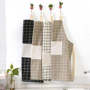 Elegante utensilios de cocina a cuadros imprimidos sin mangas damas suaves para casas de cocina para hornear para hornear, delantal limpio, accesorios de cocina