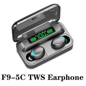 F9-5C TWS Wireless Bluetooth Earphone 5.0 Touch headphones earbuds Stereo Sport Music Waterproof LED Display Earsets With retail box