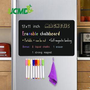 Magnetic Sheet Erasable Chalkboard Blackboard Black Writing Message Board Calendar Kitchen Fridge Sticker Free Pen Eraser 17*11\