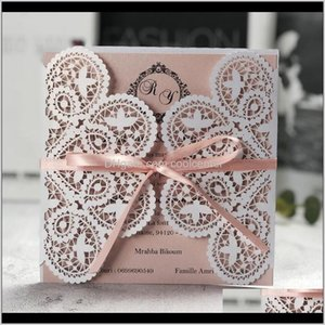 Greeting Event Festive Party Supplies Home & Garden Drop Delivery 2021 50Pcs Ivory Square Laser Cut Wedding Invitations Cards With Ribbon Lac