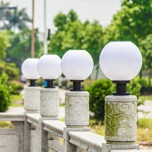 Solar Lamps Pillar Lights Column Head Light Control Outdoor Waterproof Led Wall Doorpost Round Community Villa Garden Lamp 30cm
