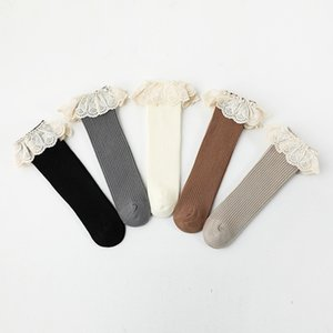Autumn INS Kids Girls Lace High-neck Socks Baby Ruffle Frilly Breathable Lovely Cute Knitted Cotton 5 Colors Fashions Children Sock