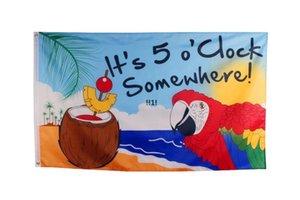 Venda por atacado preço de fábrica 3 x 5 ft 90 * 150 cm É 5 horas em algum lugar Parrot Parrot Margaritaville Jimmy Buffett Bandeira para Happy Hour
