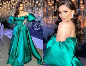 Unique Detachable Juliet Sleeves Teal Evening Prom Dresses 2021 Sweetheart Satin Crystal Ruched Beaded Open Back Bridesmaid Party Cocktail Dress