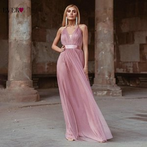 Tule vestidos de baile 2021 já bastante elegante uma linha v neck sem mangas backless vestidos formais festa noite vestidos ep00555