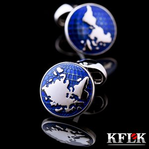 KFLK jewelry world map cuff links for mens shirts blue button high quality brand luxury cufflinks wedding guests Great workmanship durable and nice