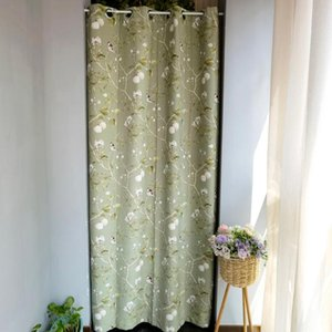 Curtain & Drapes 1PCS Grommet Top Green Door Curtains For Living Room Partition American Pastoral Blackout Thermal Insulation Porch WP145E