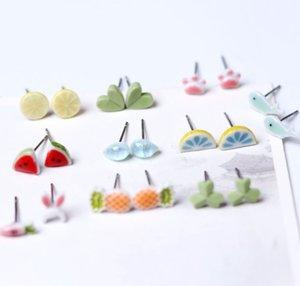 Ceramic trinkets little fresh stud girl's simple four leaf clover Earrings