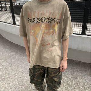 Мужские футболки Metallica Vintage Band 2021ss промытый галстук-краситель портрет высокая улица свободная модная футболка