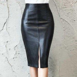 Black PU Leather Skirt Women 2021 Midi Sexy High Waist Bodycon Split Office Pencil Knee Length Plus Size1