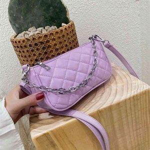 Мода багета сумочка для женщин 2020 Candy Color цепь женские маленькие плеча кроджом сумки мода дизайн кожаный подмышка сумка C0326