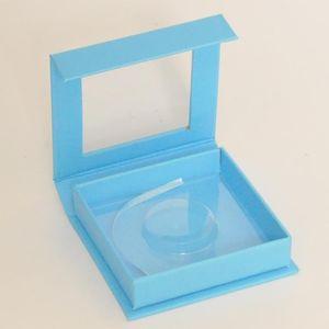 Wholesale Eyelash Packaging Box Lash Boxes Package Custome Square Magnetic Blue 25mm Mink Lashes Makeup Storage Case Vendors False Eyelashes