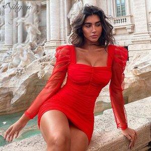 Ailigou 2021 Chic Draped Tasarım Puf Kollu Seksi Backless Kare Yaka Ünlü Parti Bandaj Kırmızı Mini Elbise Günlük Elbiseler