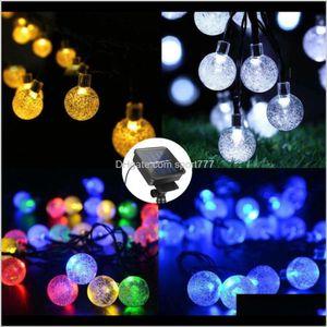 6Dot5M 30 Led Crystal Ball Solar Powered Light Outdoor String Light For Outside Garden Patio Party Christmas Solar Fairy Light Strings Zo2Fs