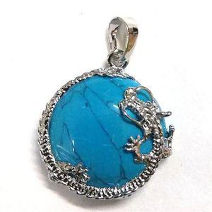 Venta al por mayor 10 PCS Plateado Plateado Dragon Wrap Lapis Lazuli Blue Turquoise Half Ball Ball Bead Vintage Colgante Charm Joyería 298 T2
