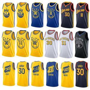 Weinlese Stephen 30 Curry City Basketball Jersey GoldenZustandKriegerMänner James 33 Wiseman Klay 11 Thompson Sleeveless Blue White Sports Shirt