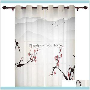Deco El Supplies Home Garden Modern Window Curtains Plum Blossom Bird Ink Bedroom Living Room Dining Decoration Translucent Beautiful