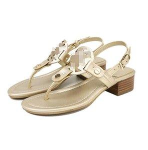 Fashion New Summer in pelle kitten tacco tacco sandalo grande pelle di spessore tacco tallone flip-toe sandalo donne rete hot style stella marca