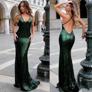 2021 Emerald Green Sequined Prom Party Dresses V Neck Mermaid Open Back Long Evening Gowns For Celebrity Dress