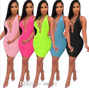 Women Club Skirt Sexy Halter Deep V Neck Bandage Hollow Out Sleeveless Backless Dress Summer Clothes Fashion Skinny Dresses A001