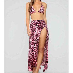 3 unids Sexy Bikini Set + Playa Cover Up Leopard Print Swimsuit Summer Beach Wear Fiesta Cothes Mujer ropa de baño