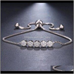 Zircons Brilliant Ronde Zirconia Verstelbare Ketting Armband Met Rose Goud Kleur Cz Sieraden Voor Meisjes 4Argc Link Chain Pxvu5