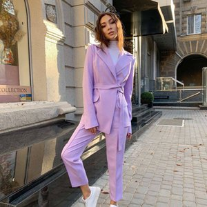 Fashion Purple Slim Mother of the Bride Pants Suits Women Ladies Evening Party Tuxedos Formal Work Wear For Wedding 2 pcs