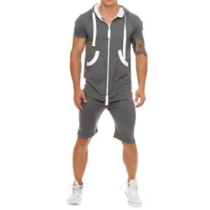 11 Colors Mens Tracksuit Rompers Hooded Coverall Casual Sport Short Sleeve Tracksuit Set Fitness Shorts New Style Summer Suits