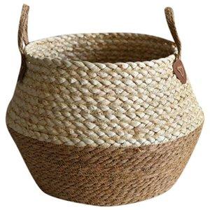 Foldable Natural Flower Pot Seagrass Wicker Basket Home Decor Garden Storage Baskets