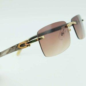 Cuerno Gafas de sol Hombres Gafas de búfalos genuinos Sin montar con montura blanca y negra Hombres cuadrados Carter Gafas Sombras Manos ópticas Prescripción CH01