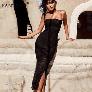 FANTOYE RUPHED SHEER SEY Party Dress Women 2021 Sin tirantes Ranura Long Maxi Elgant verano otoño Bodycon Club Wear Vestidos Vestidos Casuales