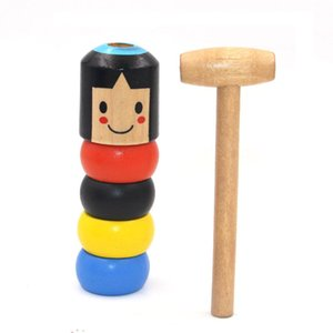 Tumbler Little Wooden Man with Magic Prop Toys Can't Beat Wood Woman Unyielding Villain Portable Simple Operation Magical Tools