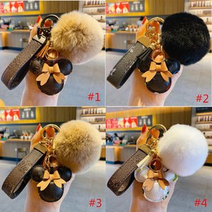 Fashion Cartoon Keychain Cute Mouse Designer Key Chain with Pompon Brown Flower PU Leather Keyring Lovers Car Pendant Handbag Bags Accessories Gifts