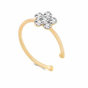 Piccolo sottile 5 cristalli trasparenti di cristalli del fiore di fascino del naso dell'argento del cerchio del cerchio dell'anello dei monili della cne di trasporto veloce 533 T2