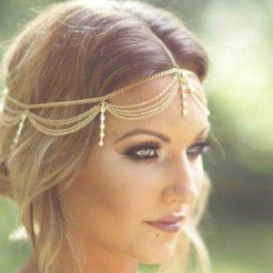 BOHO Draping Crystal Bride Accesories Новая Мода Элегантная Голова Цепь Ювелирные Изделия Свадебные Прически Головной убор