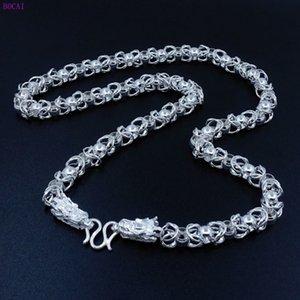 Collares Bocai S990 Dominio de Hombres Puros Dragon Head Fashion Style National Style Silver Necklace