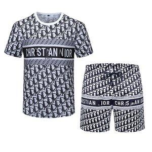Мужские футболки костюм Высококачественный дизайнер чистый хлопок с коротким рукавом костюм дышащий противотабной модной рубашкой для всей спички летняя буква мужская одежда M-3XL