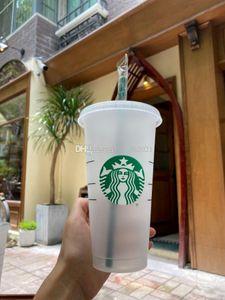 Starbucks Mermaid Goddess 24oz 710ml Plastic Mugs Tumbler Reusable Clear Drinking Flat Bottom Pillar Shape Lid Straw Cups Bardian 50pcs Free DHL