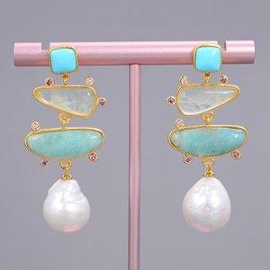 GuaiGuai Jewelry Freshwater White Pearl Blue Turquoise Green Amazonite Dangle Stud Earrings For Women Real Gems Stone Lady Fashion Jewellry