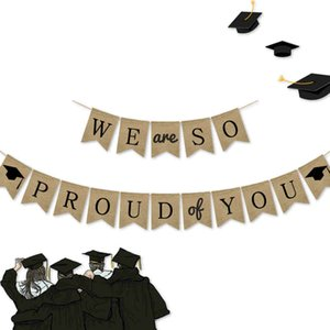 1 Set WE SO PROUD YOU Graduation Season Hanging Streamer Party Mabula Banner Bachelor Banners Picture Props
