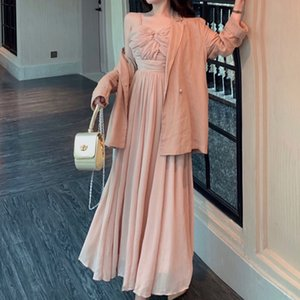 Spring skirt female pantsuits tube vintage upper strap maxi dress + flax blazer suits piece defines womens outfits