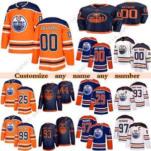 مخصص Edmonton Oilers Hockey Jerseys 97 Connor McDavid 74 Ethan Bear 15 Josh Archibald 99 Wayne Gretzky أي رقم واسم