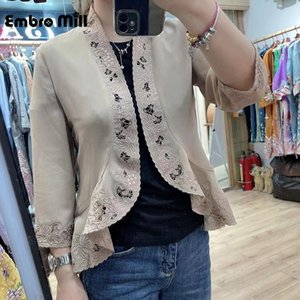 Vestes Femmes Summer Chinois Style Retro Broderie + Creuse Soie Silk Silk Shirt Slim Trois quarts Cardigan Cardigan Top Femmes M-3XL
